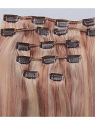 15 pulgadas 7pcs / 70g de clip en extensiones de cabello humano brasileño recto sedoso # 12/613