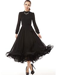 De las mujeres Vestido Vintage Un Color Maxi Raso