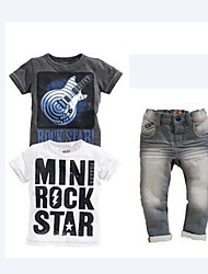 Boy's Summer Inelastic Thin Short Sleeve Three Pieces Jeans/Clothing Sets (Cotton Blends)