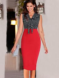 Dominic Women's Polka Dot Red Dresses , Bodycon / Casual V-Neck Sleeveless