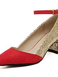 Women's Shoes Chunky Heel Heels/Closed Toe Pumps/Heels Casual Black/Red
