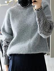 Pullover Aux femmes Manches Longues Décontracté Tricots/Mélange de Laine Epais