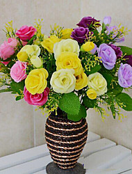 High Quality Artificial Flowers for Home Decoration Bright Color Rose Silk Flower for Wedding Bouquet