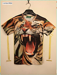 Men's fashion 3D Printing T-shirt Tiger Occident Popular Short-Sleeved Shirt Tops(M-XXL)