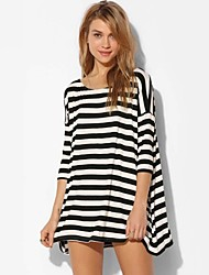 Women's Casual Micro-elastic ½ Length Sleeve Asymmetrical Dress (Cotton Blends) 520113668869