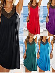 Sexy/Strand/Informell V-Ausschnitt - Ärmellos - FRAUEN - Kleider ( Baumwolle )