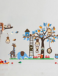 Wall Stickers Wall Decals, Large Animals Monkeys Tree PVC Wall Sticker