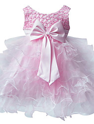 Girl's Pink Floral Dress Sleeveless Ball Dress Wedding Dresses Pageant Party Dresses For 0~2Y Baby Girls