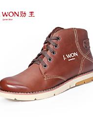 Zapatos de Hombre Exterior/Oficina y Trabajo/Casual Cuero Botas Marrón/Coral