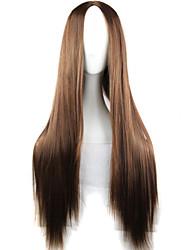 fashion girl must-have de haute qualité brun naturel perruque de longs cheveux raides