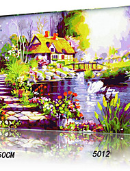DIY Digital Oil Painting With Solid Wooden Frame Family Fun Painting All By Myself     Dream House 5012