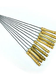 Pinchos de aguja 12pcs barbacoa asado mango de madera tenedor de acero inoxidable