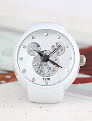 Fashion Round Shaped Quartz Neutral White Cat Ring Watch(White)(1Pc) Cool Watches Unique Watches