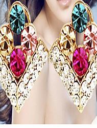 Brincos Curtos Cristal Estilo bonito Gema Zircônia Cubica Strass Liga Cor Ecrã Jóias Para 2pçs