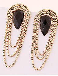Drop Earrings Gemstone Gold Plated Alloy Statement Jewelry Drop Screen Color Jewelry 2pcs