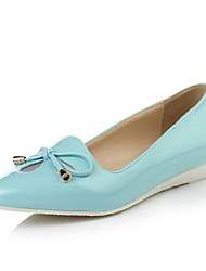 Women's Shoes Patent Leather Wedge Heel Comfort/Pointed Toe Flats Dress Blue/White