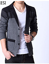 Standard Cardigan Da uomo-Casual Ufficio A strisce Manica lunga Cotone