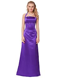 Formal Evening Dress - Purple Sheath/Column Halter Floor-length Satin Chiffon