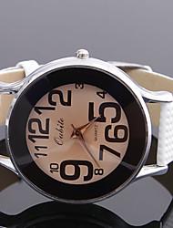 Women's Circular PU Band Quartz Wrist Watch