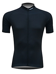 Fineou Men's Black Short Sleeve Spring/Summer/Autumn Cycling Tops Breathable/Quick Dry/Front Zipper/Back Pocket Black