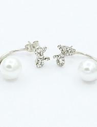 Earring Stud Earrings Jewelry Women Rhinestone / Gold Plated 2pcs Gold / White