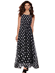 Women's Black And White Dots Printing Chiffon Maxi Dress