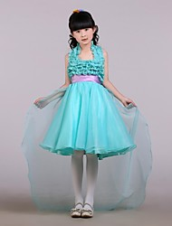 Ball Gown Asymmetrical Flower Girl Dress - Satin / Tulle Sleeveless Halter with