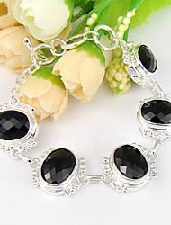 fogo ovais ônix preto Morganite peridot gem 0,925 prata pulseiras cadeia pulseiras para a festa de casamento do feriado diariamente 1 pc