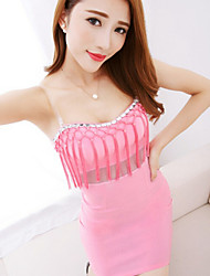 Women's Pink/Black/Yellow Dress , Casual Sleeveless