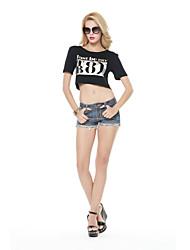 De las mujeres Camiseta - Ahuecado/Espalda al Aire Escote Redondo - Algodón - Manga Corta