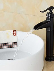 Bathroom Oil-rubbed Bronze Waterfall Single Handle Single Hole Basin Faucet