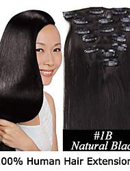 15inch 7pcs / set 120g clip-in hair remy human hair extensions 12 kleuren voor vrouwen schoonheid