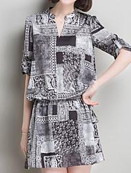Women's Vintage/Beach/Casual/Print/Work/Plus Sizes Micro-elastic ¾ Sleeve Above Knee Dress (Chiffon)