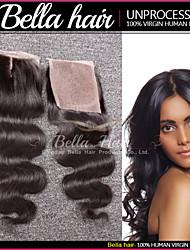 """onda do corpo brasileiro parte média rendas fechamento (4x4 """") 8"""" -20 """"fechamento cabelo humano virgem com feixes de fecho superior"""