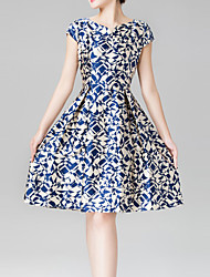 Women's Vintage / Party Print A Line Dress , Round Neck Above Knee Silk