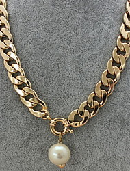 Character Chain Pearl Pendant Necklace