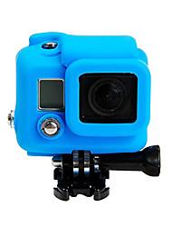 GoPro silicone de caoutchouc souple boîtier de protection en silicone cas couvrir la peau protecteur pour GoPro hero4 hero3 + (bleu)