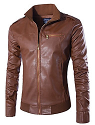 Men's Long Sleeve Regular Faux Leather Casual/Work Pure