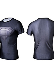Summer Men Short Sleeve Quick Dry Breathable Outdoor Sporting O-Neck Gray Sporting T-Shirts