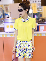 Women's Geometric White/Yellow Blouse , Stand Short Sleeve