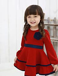 Girl's Cotton/Polyester Sweet Leisure Flower Medium Long Sleeve Dress