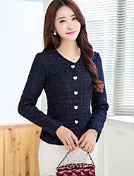 Women's Casual Work Medium Long Sleeve Regular Jackets (Cotton)