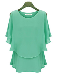 Women's Sexy Casual Work Plus Sizes Inelastic ¾ Sleeve Short Blouse (Chiffon)