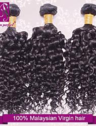 """3 Stück lot 12 """"-30"""" reines malaysisches lockiges Haar Einschlagfäden natürliche Farbe 1b # menschliche Haarwebart Bündel verwirren frei"""