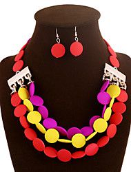 Jewelry Set Resin Fashion Purple Yellow Red Pink Rainbow Wedding Party Daily 1set 1 Necklace 1 Pair of Earrings Wedding Gifts