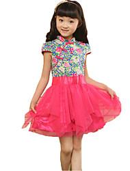 Girl's Summer China Style Tutu Dress Flower Girl Dresses Organza Birthday Party Dancing Dress