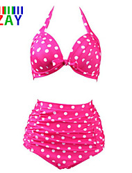 ZAY Women's Retro/High waist  Sexy Push-up High Waist Dot Print Halter Bikinis Set