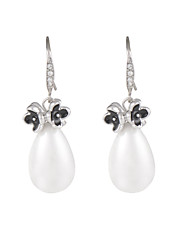 Elegant Black Petals Teardrop Shell Pearl Dangle Earrings