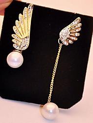 Tropfen-Ohrringe Perle Imitation Diamant Aleación Flügel Gold Schmuck 2 Stück