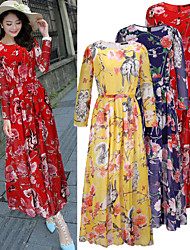 Women's Print Blue / Red / Yellow Dresses , Vintage / Beach / Casual / Print / Party Round Long Sleeve